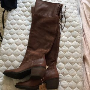 Lucky brand real leather high knee boots in brown
